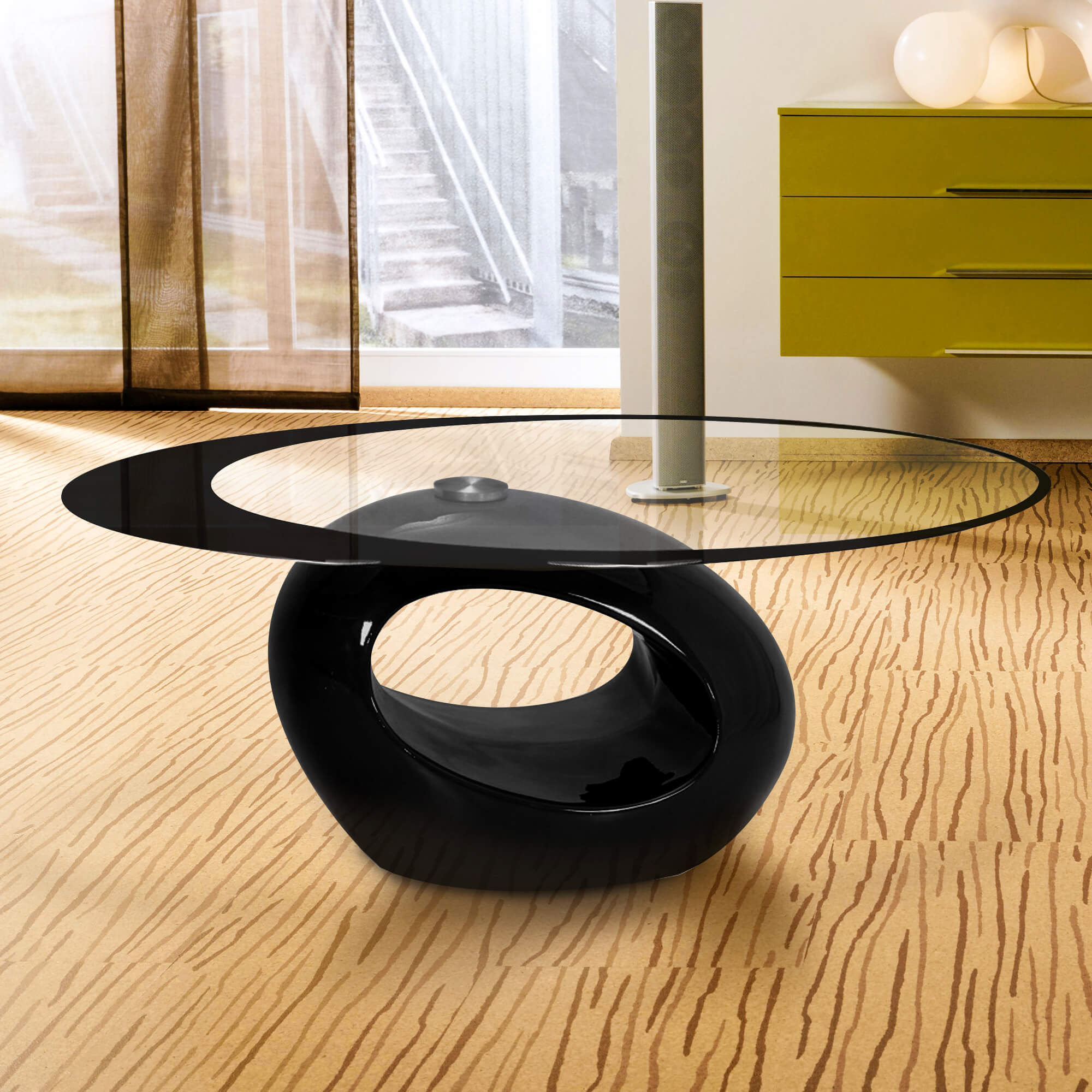 Fab Gl And Mirror Stylish Oval Shape Coffee Table