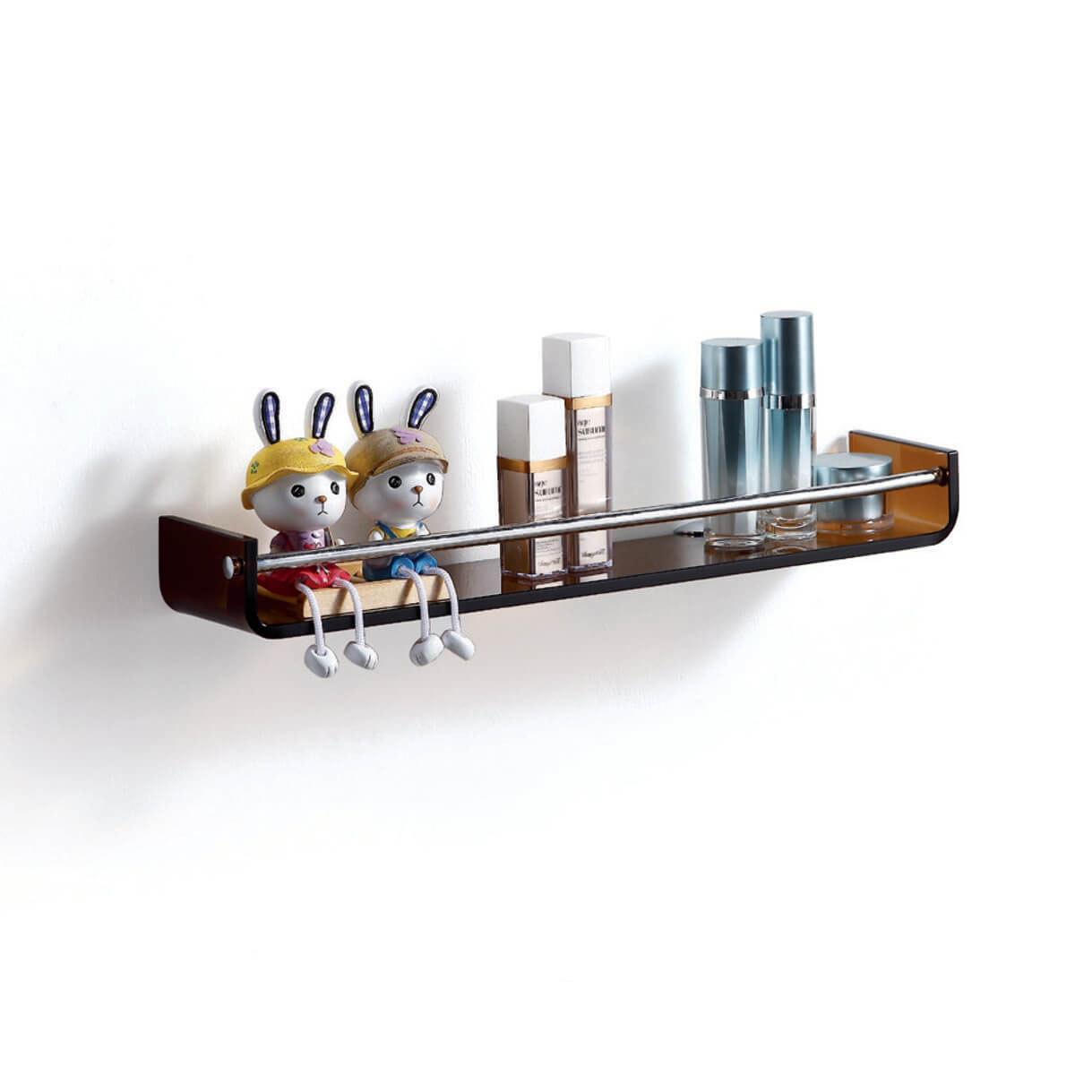 Fab Glass and Mirror Stylish Bathroom Glass Shelf with Chrome Towel ...