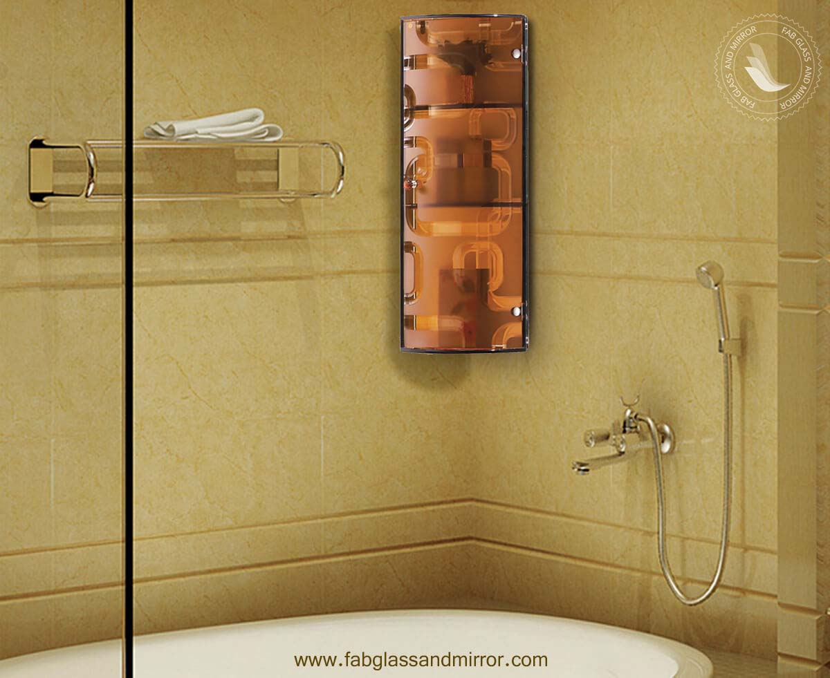 Crystal Gold Bathroom Corner Glass Storage Cabinet