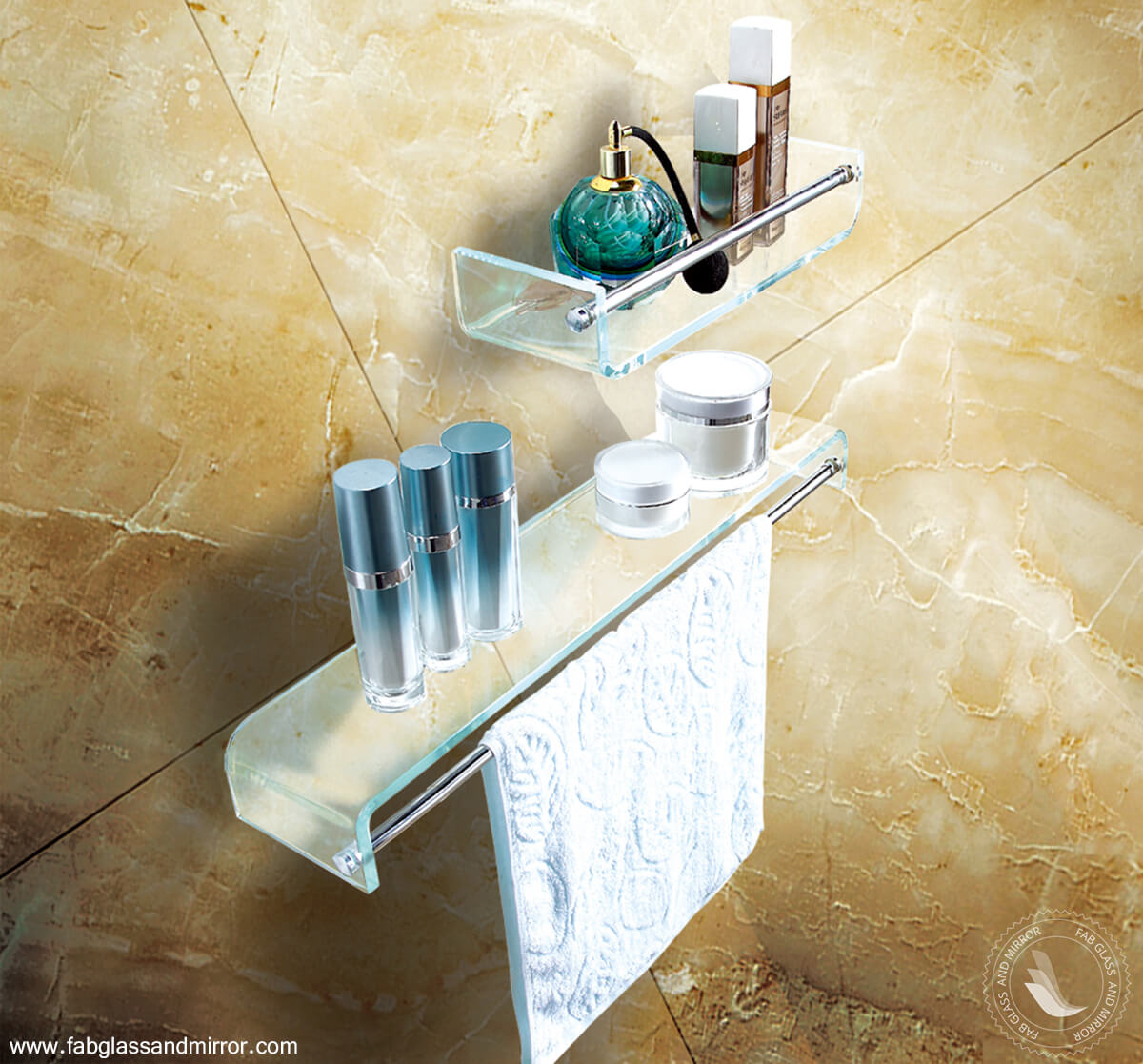Stylish Bathroom Glass Shelf With Chrome Towel Bar