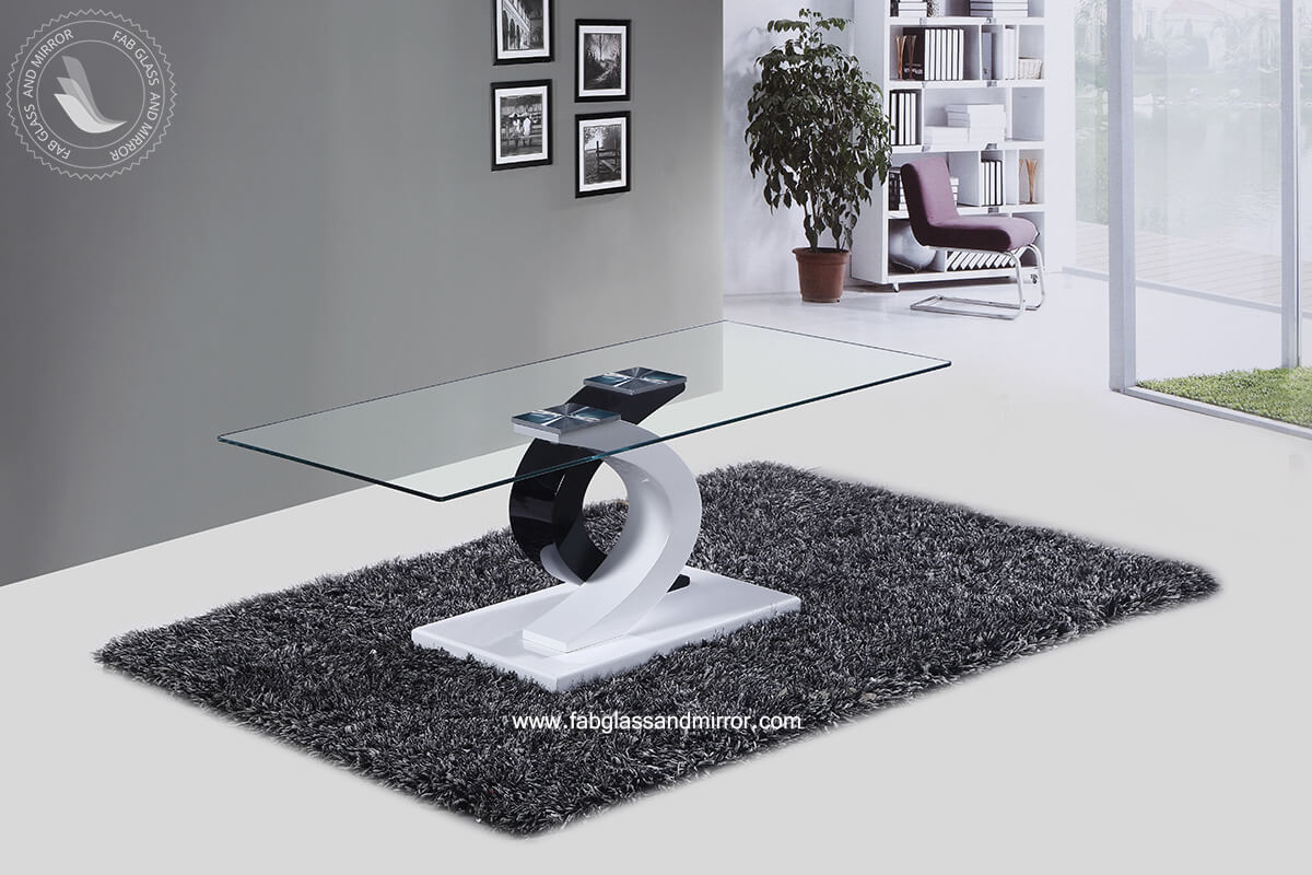 Milano Coffee Table with Stylish Black and White High Glossy Base